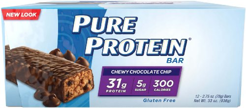 Pure Protein High Protein  Bar, Chewy Chocolate Chip, 2.75-Ounce Bar, 12-Count