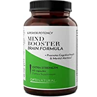 Natural Brain Booster Supplements - Mental Focus Enhancer With Pure Green Tea Extract + L Glutamine + Olive Leaf + Bilberry Fruit - Memory Support for Adults for Energy Benefits By Opti Naturals from Opti Naturals