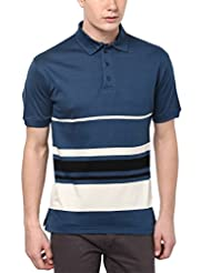 American Crew Men's Polo Striped (Teal With Off-White & Black Stripes)
