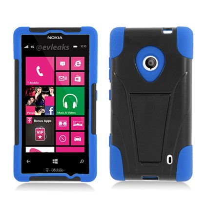 Eagle Cell PHNK521YSTBLBK HypeKick Hybrid Protective Gummy TPU Case with Kickstand for Nokia Lumia 521 - Retail Packaging - Blue/Black