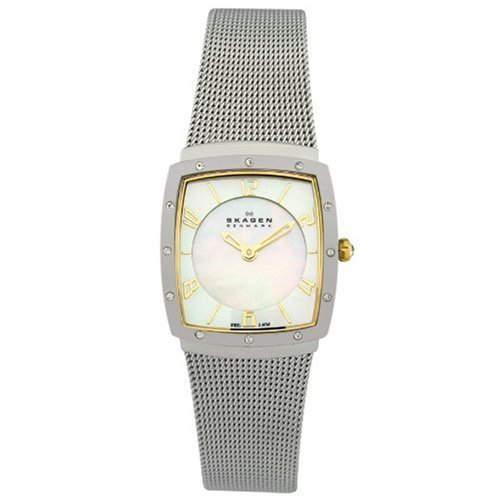 Skagen Women's 396XSGS Crystal Accented Mother of Pearl Mesh Watch