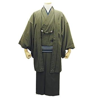 着物セット(袷着物+羽織) シンプル紬生地 紳士アンサンブル着物 (Lサイズ, 5:抹茶色)