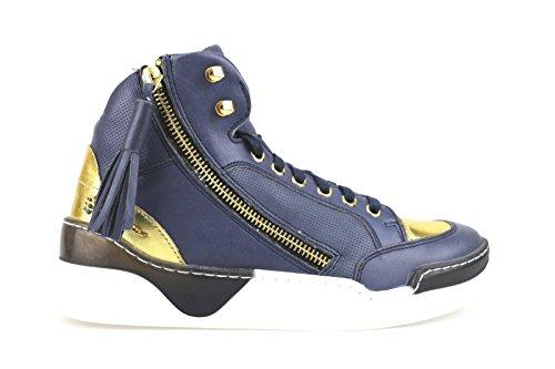scarpe donna BRACCIALINI sneakers blu pelle AH383 (35 EU)