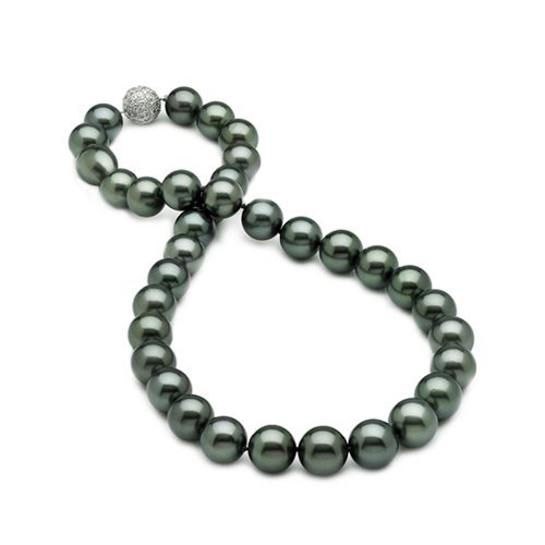 Bling Jewelry 12mm South Sea Shell Peacock Black Pearl Bridal Necklace