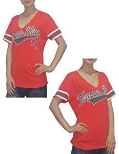 NFL Tampa Bay Buccaneers Ladies Athletic V-Neck Short Sleeve Cotton T Shirt by NFL