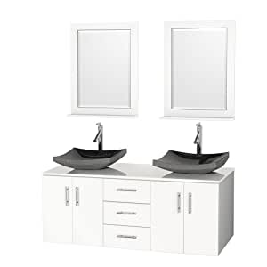 Arrano 55 inch double bathroom vanity white with vessel sinks for 55 inch double sink bathroom vanity