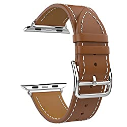 Apple Watch Band, MoKo Luxury Genuine Leather Smart Watch Band Strap Single Tour Replacement for 38mm Apple Watch Models, BROWN (Not Fit 42mm Version 2015)