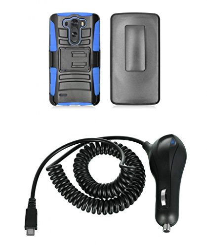 Lg G3 Vigor - Black And Blue Impact Armor Kickstand Hybrid Cover Case + Locking Swivel Belt Clip Holster + Atom Led Keychain Light + 2.1A (2100 Mah Output) Rapid Micro Usb Car Charger