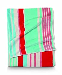 Citta Design 'Diaz' Designer Oversized Striped Beach Towel Lobster/Light Aqua, 38x70in Beautiful Indian Cotton