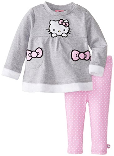 Hello Kitty Baby-Girls Infant Grey Heather 2 Piece Legging Set, Gray, 24 Months front-627138