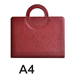 Leather Portfolio Padfolio, with Handle and Inserted Note Pad and Folder-Wine Red