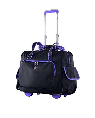 Olympia Deluxe Fashion Rolling Overnighter, Black/Purple