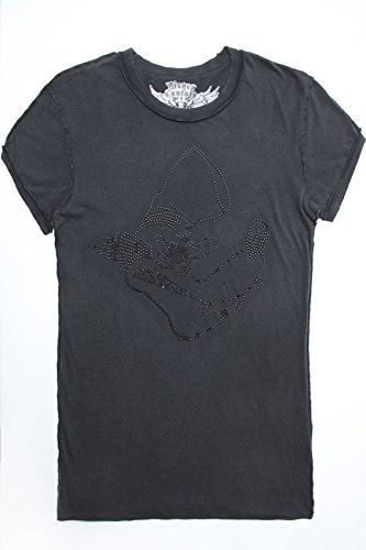 Plus Size Womens Disney Couture Charcoal Big Bad Wolf Diamanté Tee Grey
