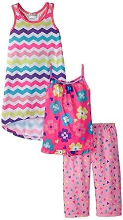 Komar Kids Little Girls'  Flowers Chevron Pajama Set, Pink Heart, Small