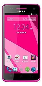 BLU Studio 5.0 C HD Quad Core, Android 4.4 KK, 4G HSPA+, 8MP Camera - Unlocked Cell Phones -Pink