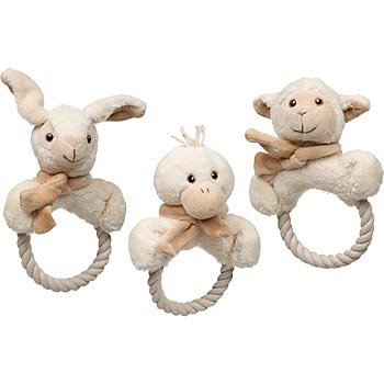 Naturals Sheep, Rabbit or Duck Rope Tug Ring Dog Toy