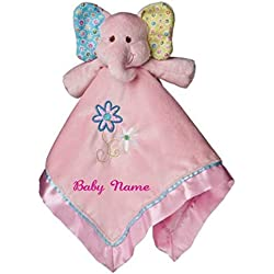 2bee86d379b364 Personalized Ella Bell Elephant Baby Blanket - 17 Inch - Pink Embroidery