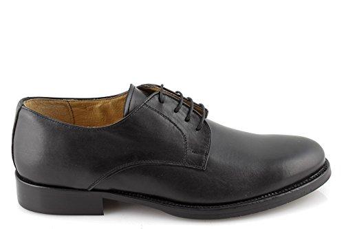 scarpe uomo eleganti DERBY classiche lisce vera pelle nere fondo cuoio made IN ITALY