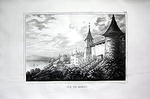 Vue de Morat - Murten Morat Seebezirk Kanton Freiburg - Schweiz Suisse Lithographie Pingret.
