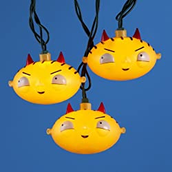 Set of 120 Family Guy Devil Horned Stewie Head Christmas Lights - Green Wire