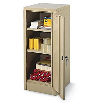 "Edsal 6604TN Tan Steel Storage Cabinet, 2 Adjustable Shelves, 42"" Height x 18"" Width x 18"" Depth"