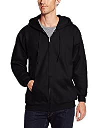 Hanes Men\'s Full Zip Ultimate Heavyweight Fleece Hoodie, Black, X-Large