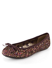Bow Glitter Ballet Pumps