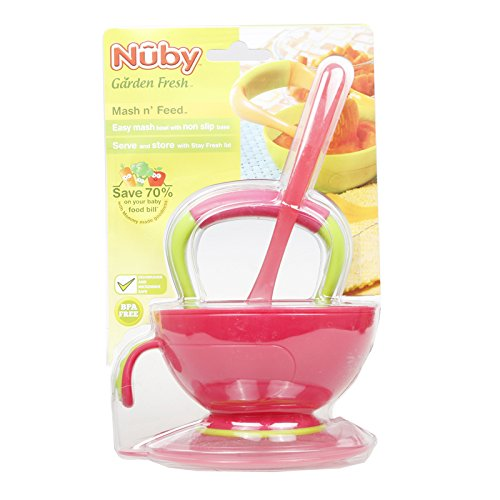 Nuby Garden Fresh Mash N' Feed Baby Food Bowl with Spoon and Food Masher, Colors May Vary