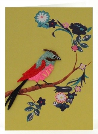 Petra Boase Embroidered Iron-On Bird Card - 1 front-842579