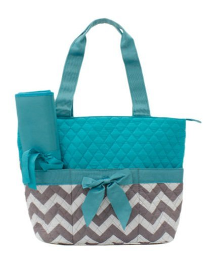 Quilted Monogram Ready Chevron Pattern Aqua 3 Piece Diaper Bag With Changing Pad - 1
