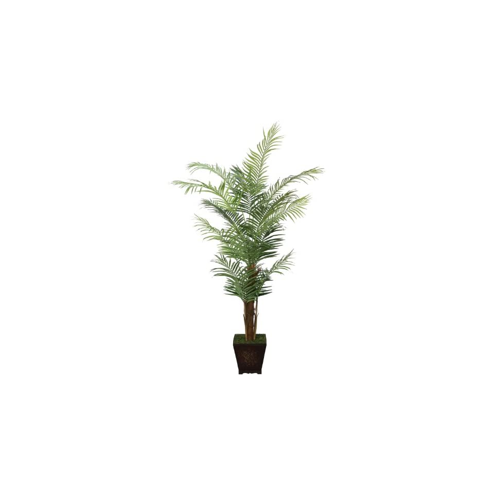 Laura Ashley Realistic Areca Palm Tree in Decorative Wood Planter, 7 Feet Tall