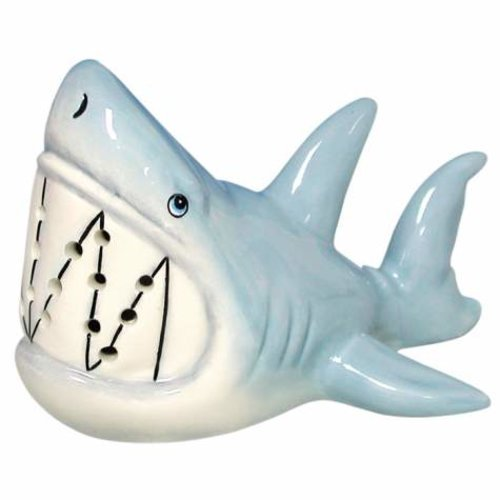 3 Inch Ferocious Grin Gray Blue Shark Ceramic Toothpick Holder
