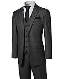 Contemporary Slim Fit Suits in Different Options (3pcs) Charcoal Size 38R