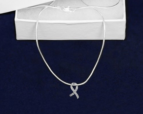 Silver Ribbon Necklace- Floating Crystal Ribbon (18 Necklaces)