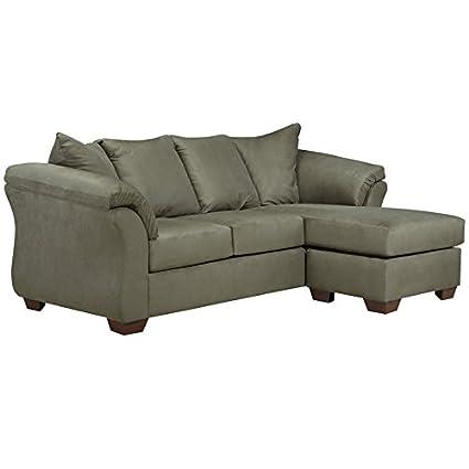 Flash Furniture Signature Design Sofa Chaise by Ashley Darcy in Microfiber, Sage