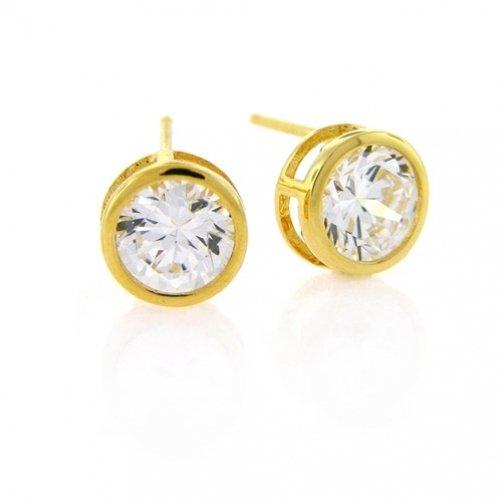 Bling Jewelry Gold Vermeil Bezel Set Round Cut CZ Men Unisex Stud Earrings (2ct 8mm)