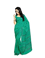 De Marca Sea Blue Cotton Designer 3665 Saree