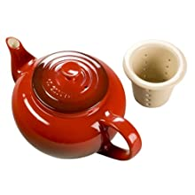 Le Creuset Stoneware 22-Ounce Teapot with Infuser, Cherry