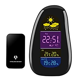FIIL Wireless Color Cobblestone Weather Station/ Weather Accurately Monitor with Indoor/Outdoor Temperature, Humidity Senor, Forecast Barometer and Alarm Clock, Calendar LCD Display