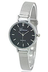 Geneva Platinum Analog Black Dial Womens Watch - GP-206