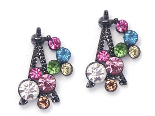 Chadada Colour Crystal Black Eiffel Tower Stud Earrings For Women