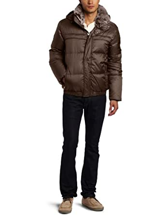 Marc New York by Andrew Marc Men's Artic Down Filled Bomber Nylon Jacket with Fur Collar, Espresso, Medium