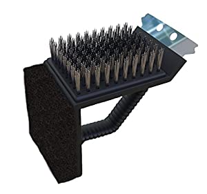 Grill Brush 6.5 Inches - Heavy Duty Original 3-in-1 Grill Cleaner - Safe and Perfect Barbecue Cleaning for Porcelain, Electric, Charcoal, Infrared, Weber, Char-Broil, Outdoor BBQ Grills - Handy and Thick Stainless Steel Bristles, Grill Scraper, Scrub Brus
