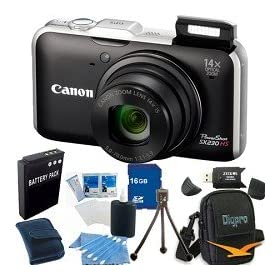 Canon PowerShot SX230HS 12 MP Digital Camera with HS SYSTEM and DIGIC 4 Image Processor (Black)Super Bundle Includes Camera 16 GB Memory Card, Card Reader, Battery Pack, Carrying Case, Mini Tripod, and More.