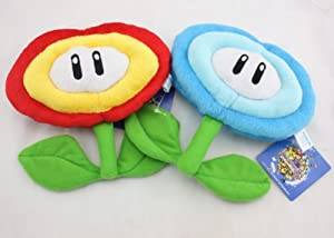 1 Set of Super Mario Bros Fire Flower & Ice Flower Plush Doll Soft Toy Nintendo by Super Mario