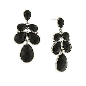 1928 Jewelry Women Silver-Tone Black Faceted Crystal Multi-Pear Drop Earrings