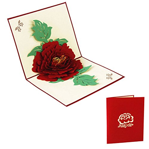 MEXUD-3D Pop Up Greeting Cards Peony Birthday Valentine Mother Day Christmas (Red) (How Many Days Is Standard Shipping)