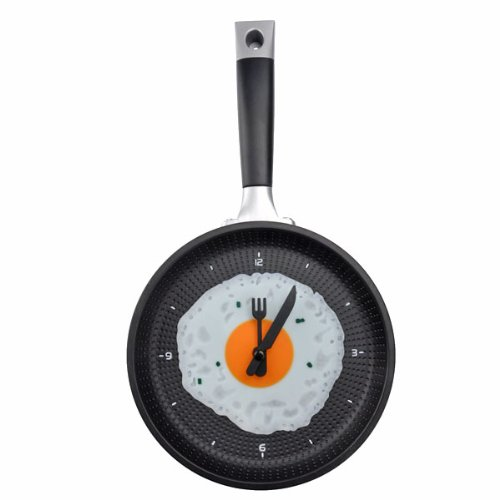 Pixnor Funny Frying Pan Design Wall Clock With Omelette Face