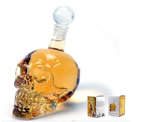 BeautyLife Crystal Skull Shaped Wine Decanter with Stopper, Vodka Wine Bottle