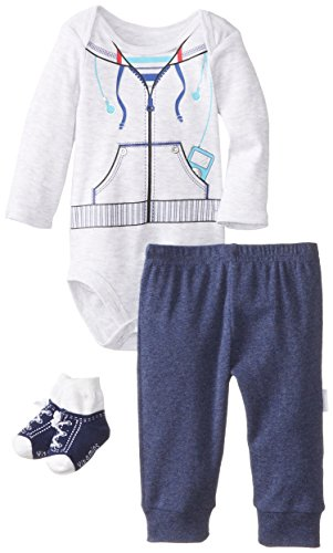 Vitamins Baby Baby-Boys Newborn Sweatshirt 3 Piece Creeper Pant Set, Grey, 6 Months front-1005457